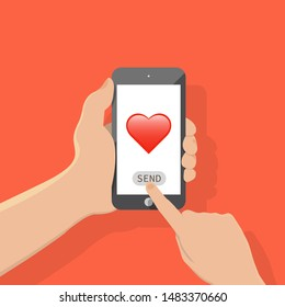 Sending love message concept. Hand holding phone with heart, send button on the screen.web sites, banners, infographics design,Finger touch screen. Vector flat cartoon illustration for advertisement