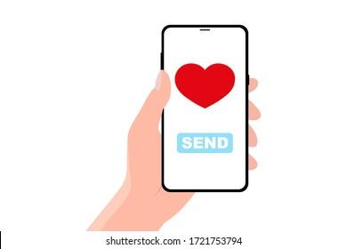Sending love message concept on white.