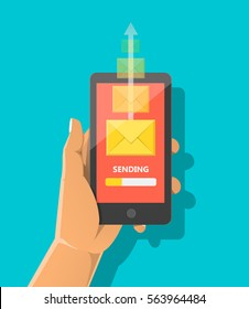 Sending message concept. Hand holding phone with closed envelope and progress bar on the screen. Vector flat cartoon illustration for advertising, web sites, banners, infographics design. RSS feed