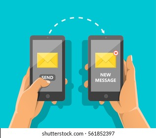 Sending message concept. Man's hand holding phone with closed envelope, send button and notification. Finger touch screen. Vector flat cartoon illustration for web banners, sites, infographics design.