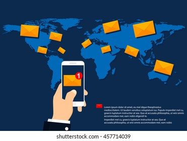 Sending or receiving email sms and mms messages around the world. E-mail marketing concept.
