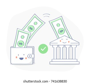 Sending and Receiving money, Payments, Transfer, Deposit, Banking. Money bills fly from a happy purse (wallet) to the bank building. Successful transaction. Premium quality flat outline icon.