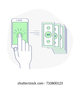 Sending and Receiving Money Wireless with Mobile Phone. Hand Tapping Smartphone with Banking Payment App. Modern flat line style concept vector illustration isolated on white background.