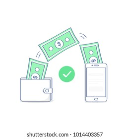 Sending and receiving money wireless with from wallet to mobile phone, fund remittance. Hands holding smart phone and purse with cash, banking payment app. Flat outline vector illustration icon.