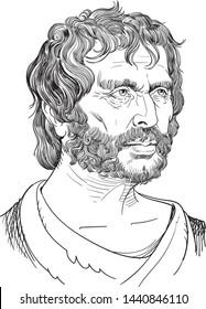 Seneca portrait in line art illustration. He was a Roman Stoic philosopher, statesman, dramatist and satirist of the Silver Age of Latin literature. Vector