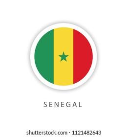 Senegal Button Flag Vector Template Design Illustrator
