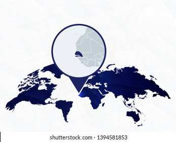 Senegal detailed map highlighted on blue rounded World Map. Map of Senegal in circle.