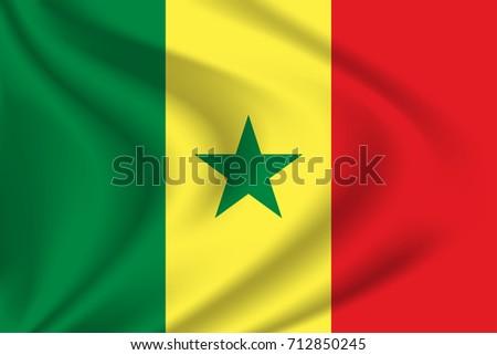 Senegal Flag Background Cloth Texture Senegal Vector De