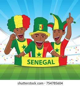 senegal Flag. Cheer football support Vector illustration.