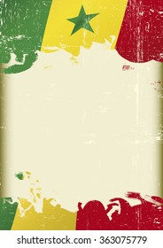 Senegal Flag grunge background. A flag of Senegal with a grunge texture and a large frame for your message