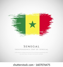 Senegal flag made in brush stroke background. Independence day of Senegal. Creative Senegal national country flag icon. Abstract painted grunge style brush flag background.