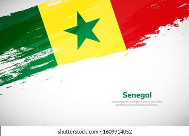 Senegal flag made in brush stroke background. National day of Senegal. Creative Senegal national country flag icon. Abstract painted grunge style brush flag background.