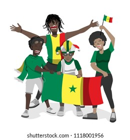 Senegal football fans. Cheerful soccer fans, supporters crowd and Senegal flag.