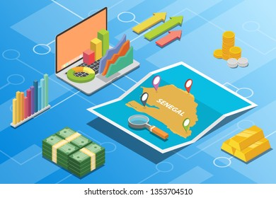 senegal isometric financial economy condition concept for describe country growth expand - vector