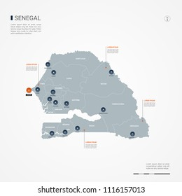 Senegal map with borders, cities, capital Dakar and administrative divisions. Infographic vector map. Editable layers clearly labeled.