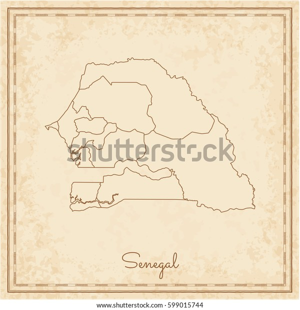 Senegal region map: stilyzed old pirate parchment imitation. Detailed map of Senegal regions. Vector illustration.