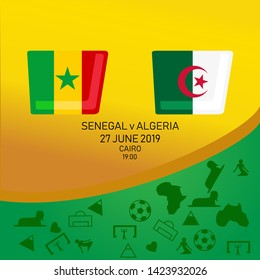 Senegal vs Algeria, African football match 2019, Egypt pattern with modern and traditional elements, Vector illustration