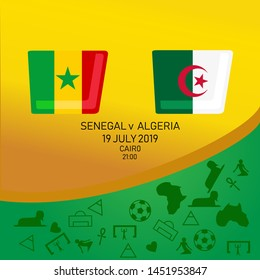 Senegal vs Algeria, African football match 2019, Egypt pattern with modern and traditional elements, Vector illustration.