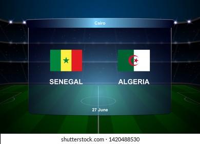Senegal vs Algeria football scoreboard broadcast graphic soccer template