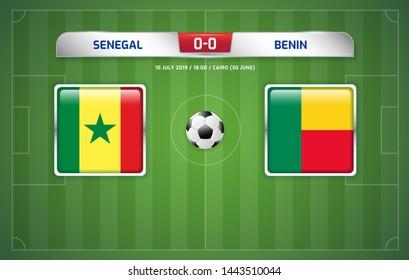 Senegal vs Benin scoreboard. Broadcast template for sport soccer. Africa tournament 2019 round quarter finals. Football championship in Egypt. Vector illustration.