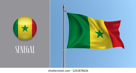 Senegal waving flag on flagpole and round icon vector illustration. Realistic 3d mockup of circle button