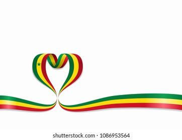 Senegalese flag heart-shaped wavy ribbon. Vector illustration.