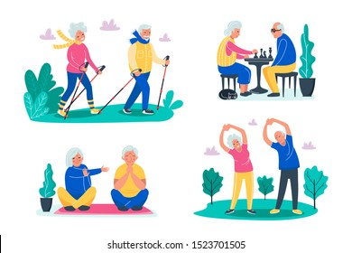Senior activities concept. Old people walking, playing chess, do exercises on the fresh air in forest and do yoga with happy faces. Sporty lifestyle in a retirement for pensioners. Vector illustration
