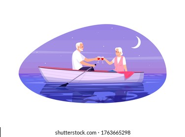Senior adult couple semi flat vector illustration. Old husband and wife. People flirting in boat. Man and woman drink wine together. Romantic night date 2D cartoon characters for commercial use