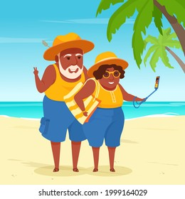 Senior adult tourist couple takes a selfie by a smartphone on a sea beach background. Active elderly people on vacation. A vector cartoon illustration.