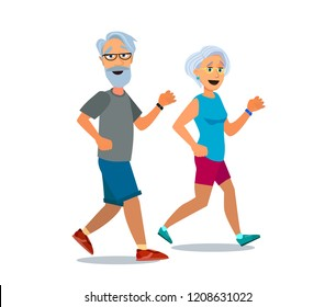 Senior age couple running. Cool vector flat character design on elderly man and woman jogging. Retired couple fitness healthy lifestyle