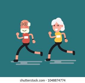 Senior age couple running - Elderly man and woman jogging