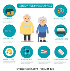 Senior  age infographics, flat vector illustration.  Retired elderly  couple characters, info. Layout template.
