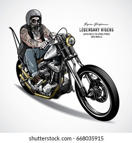 Senior Biker riding a chopper motorcycle