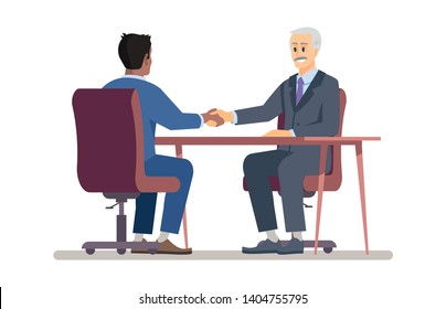 Senior boss hiring employee flat vector illustration. Employer handshaking with new worker, job seeker cartoon characters. Top manager, recruiter and vacancy candidate. Successful job interview