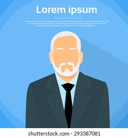 Senior Businessman Boss Business Owner Flat Profile Icon Male Portrait Vector Illustration