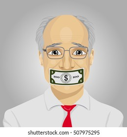 senior businessman with dollar bill taped to mouth. Bribery concept in politics, business, diplomacy.