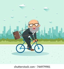 Senior businessman riding a bicycle on city background. Vector illustration