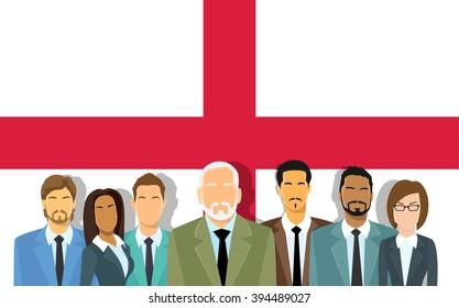 Senior Businessmen Group of Business People Over Old Original English Flag Flat Vector Illustration