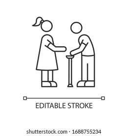 Senior care pixel perfect linear icon. Elder person with cane. Social worker help old man. Thin line customizable illustration. Contour symbol. Vector isolated outline drawing. Editable stroke