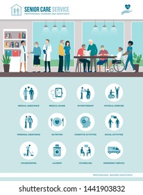 Senior care services at the nursing home: elderly people and medical staff together, icons set
