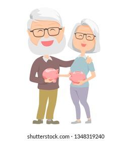 Senior carrying retirement savings money. Senior couple with piggy bank .