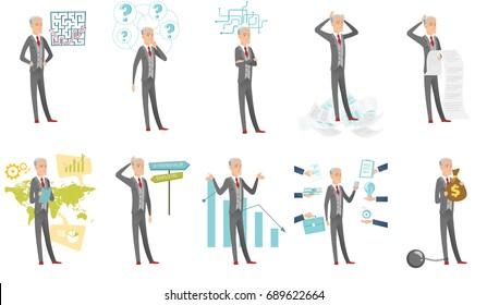 Senior caucasian businessman set. Businessman standing under question marks, holding long bill, choosing career way. Set of vector flat design cartoon illustrations isolated on white background.
