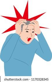 senior citizen  with intense headache
