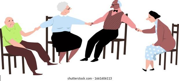 Senior citizen support group, for elderly people holding hands, EPS 8 vector illustration