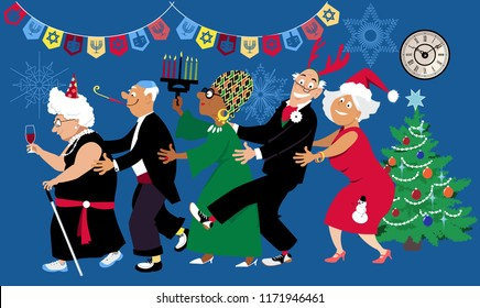 Senior citizens celebrate a multi denominational winter holidays at retirement home or a community center with diverse  friends, EPS 8 vector illustration