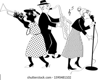 Senior citizens jazz band performing on stage, EPS 8 black solid vector silhouette, no white objects, figures cannot be separated