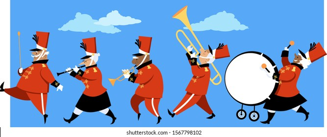 Senior citizens playing instruments in a marching band parade, EPS 8 vector illustration