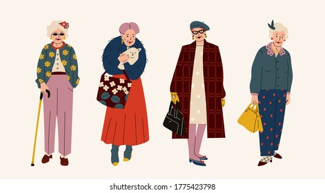 Senior confident Ladies. Different clothing and accessories. Old and mature women standing in trendy clothes. Modern fashion look. Hand drawn Vector illustration. Cartoon style. Every lady is isolated
