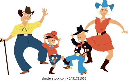 Senior couple dancing country western dance with their grandchildren, EPS 8 vector illustration