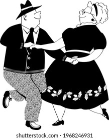 Senior couple dancing polka, EPS 8 black vector silhouette, no white objects